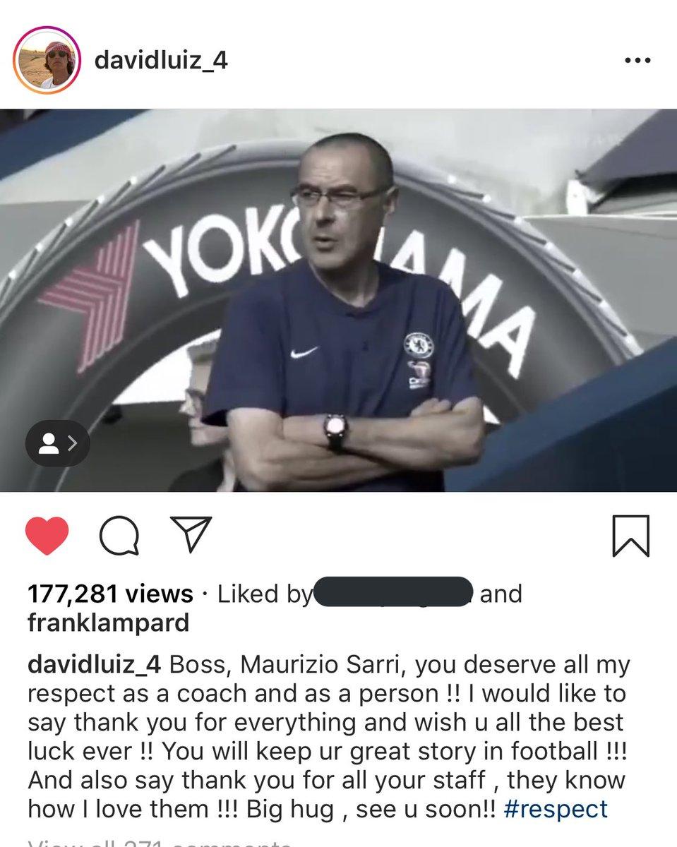 RT @TheBlues___: David Luiz farewell message to Maurizio Sarri 🔵 #CFC https://t.co/g0yWW2ZZre