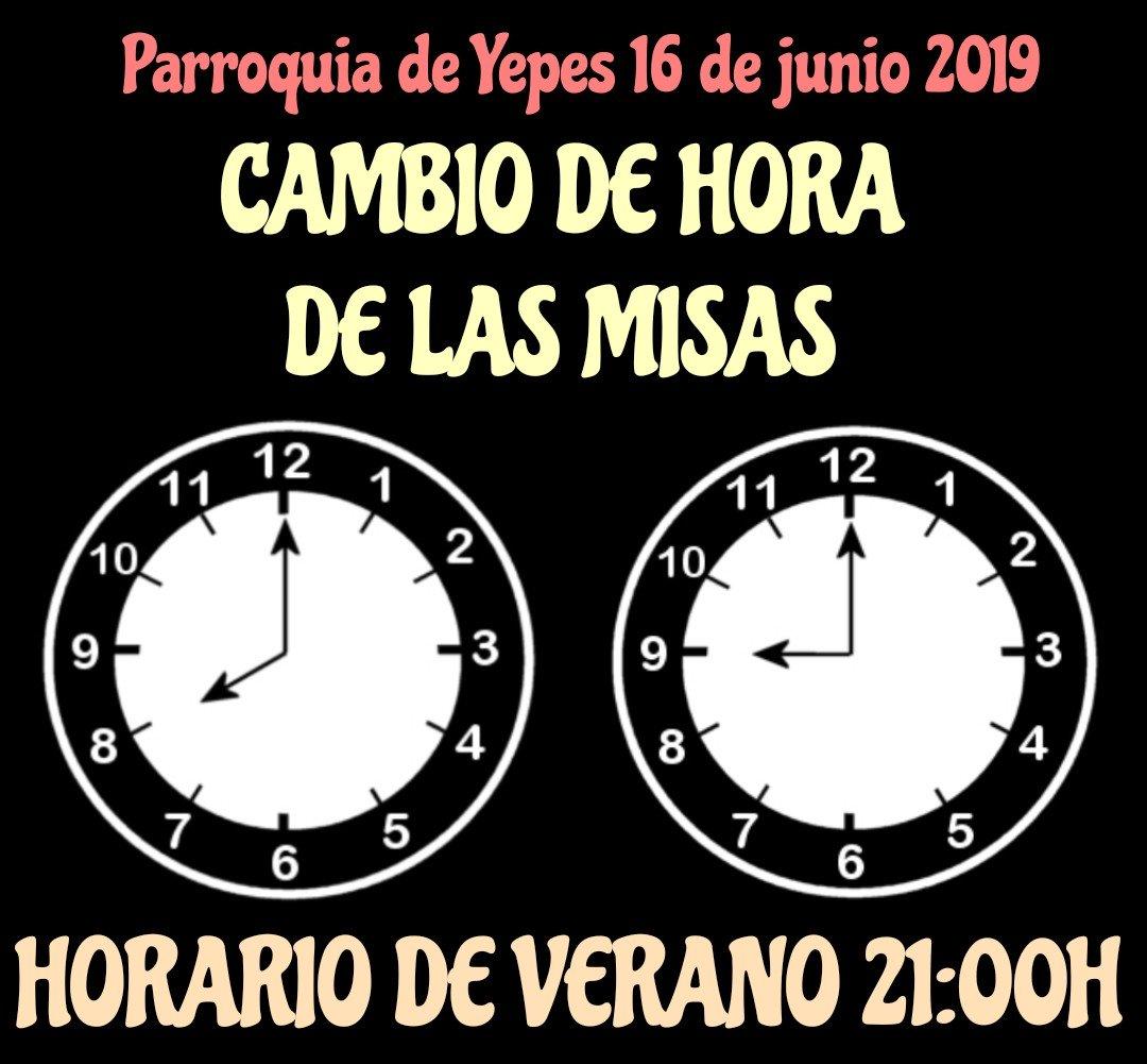 #CambioDeHora Recuerda que a partir de hoy día 16 de junio las Misas de la tarde comienzan a las 21:00h en #Yepes https://t.co/CnhmbNUlzq