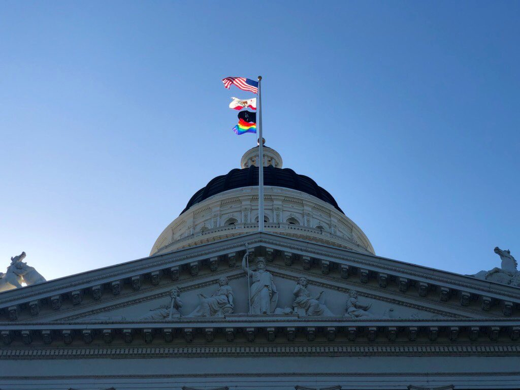 For the first time in our state's history, the Pride flag has been raised at our State Capitol!!