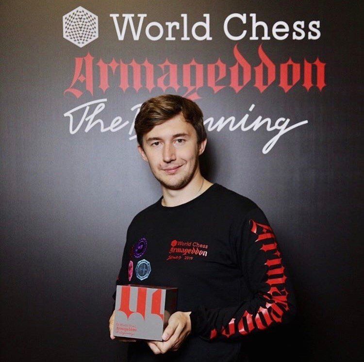 test Twitter Media - Sergey Karjakin won the first #Armageddon2019 tournament by @theworldchess that finished on June 16 in Moscow. The prize that he is holding is made out of concrete, it includes dust from ancient Meggido, or Armageddon.  https://t.co/hrrwd14lyL  📷 via @SergeyKaryakin Instagram. https://t.co/VerfWFrCmq