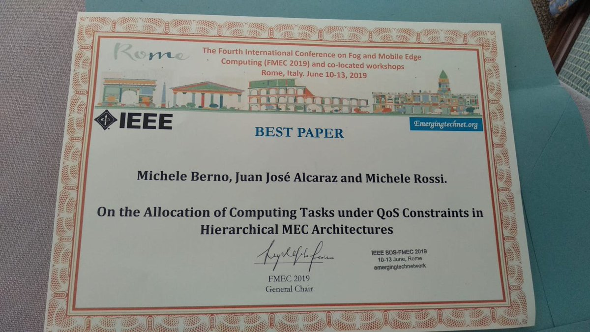 test Twitter Media - We just got the Best Paper Award 😃 at the FMEC International Conference on Fog and Mobile Edge Computing, held in Rome, Italy!!!! Very proud of my student Michele Berno for the great achievement, and thankful to my co-author Juanjo from the University of Cartagena in Spain :-) https://t.co/wv0S8aQUQH