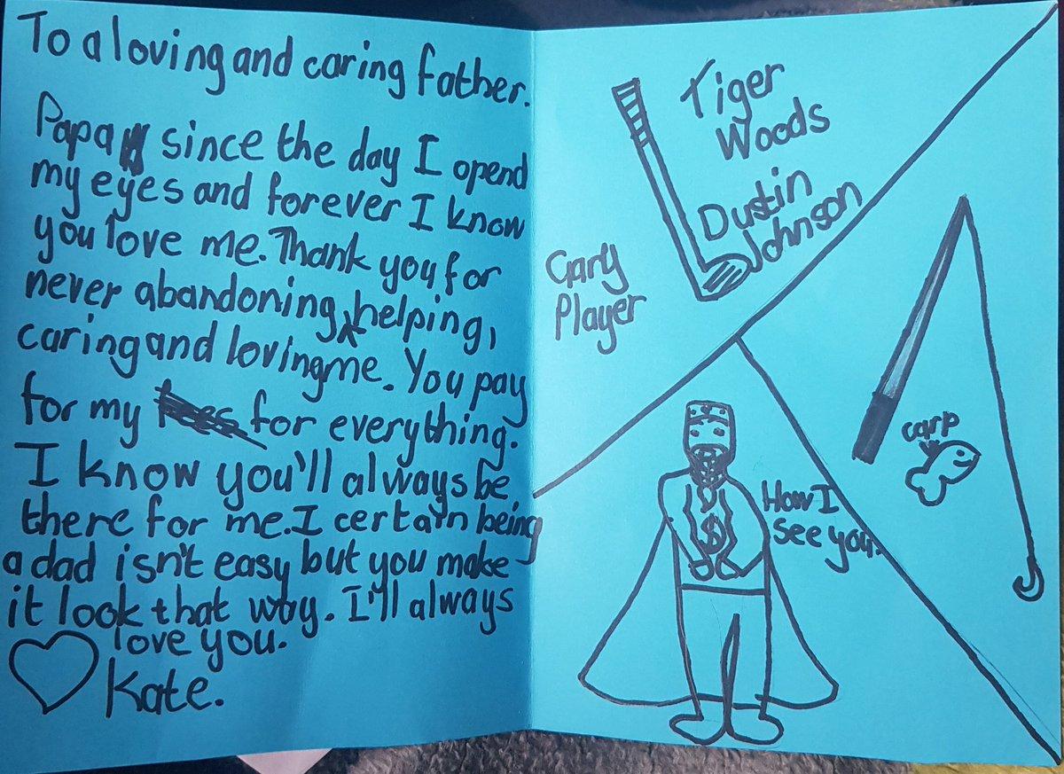 When you daughter knows you well 😁 @DJohnsonPGA @garyplayer @TigerWoods #Golf #CarpFishing https: