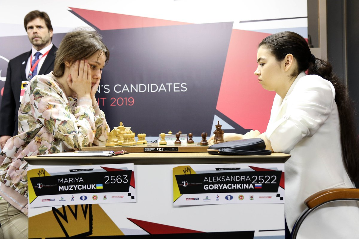 test Twitter Media - In the final round of #FIDEWomenCandidates Aleksandra Goryachkina suffered the first defeat in the tournament. She lost to Mariya Muzychuk.   Goryachkina (9,5) wins the event 1,5 points ahead of the runner-up Anna Muzychuk (8).   https://t.co/ZwkegksPi3 https://t.co/y1DJKNTzFR