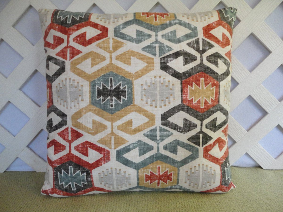 Tribal Pillow Cover in Red Blue Gold Grey Ivory / Geometric | Etsy