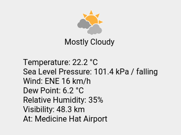 Mon 21:00: Mostly Cloudy; Temp 22.2 C; Wind ENE 16 km/h; Humidity 35%; Press 101.4 kPa / falling. https://t.co/HmcvMhrIkA