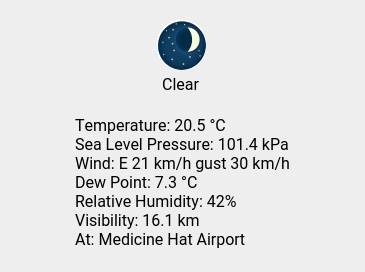 Mon 22:00: Clear; Temp 20.5 C; Wind E 21 km/h gust 30 km/h; Humidity 42%; Press 101.4 kPa. https://t.co/VgHW2LADzU