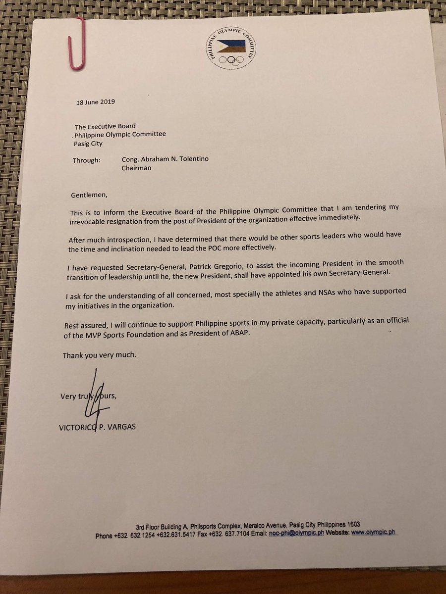 LOOK: Ricky Vargas' irrevocable resignation letter | @beebeego09 https://t.co/CTenYine4h