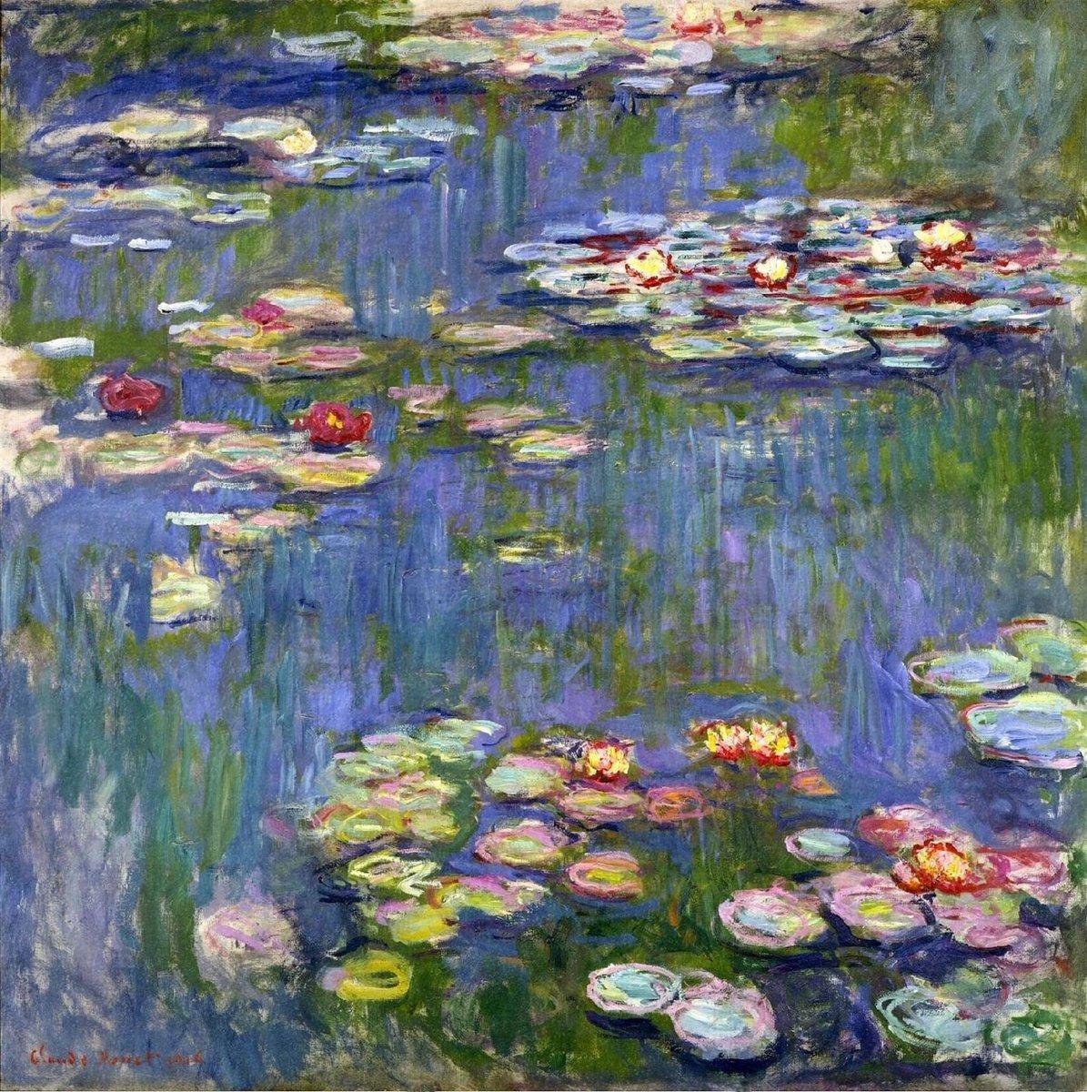 RT @artistmonet: Water Lilies, 1916 #impressionism #claudemonet https://t.co/vkduN75ZUQ