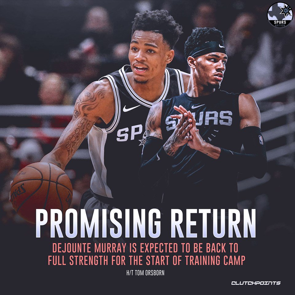 RT @SpursNationCP: Who's excited to see Dejounte  Murray back on the court? 🙋♂️  #GoSpursGo #Spurs https://t.co/SZaI0ywvWW