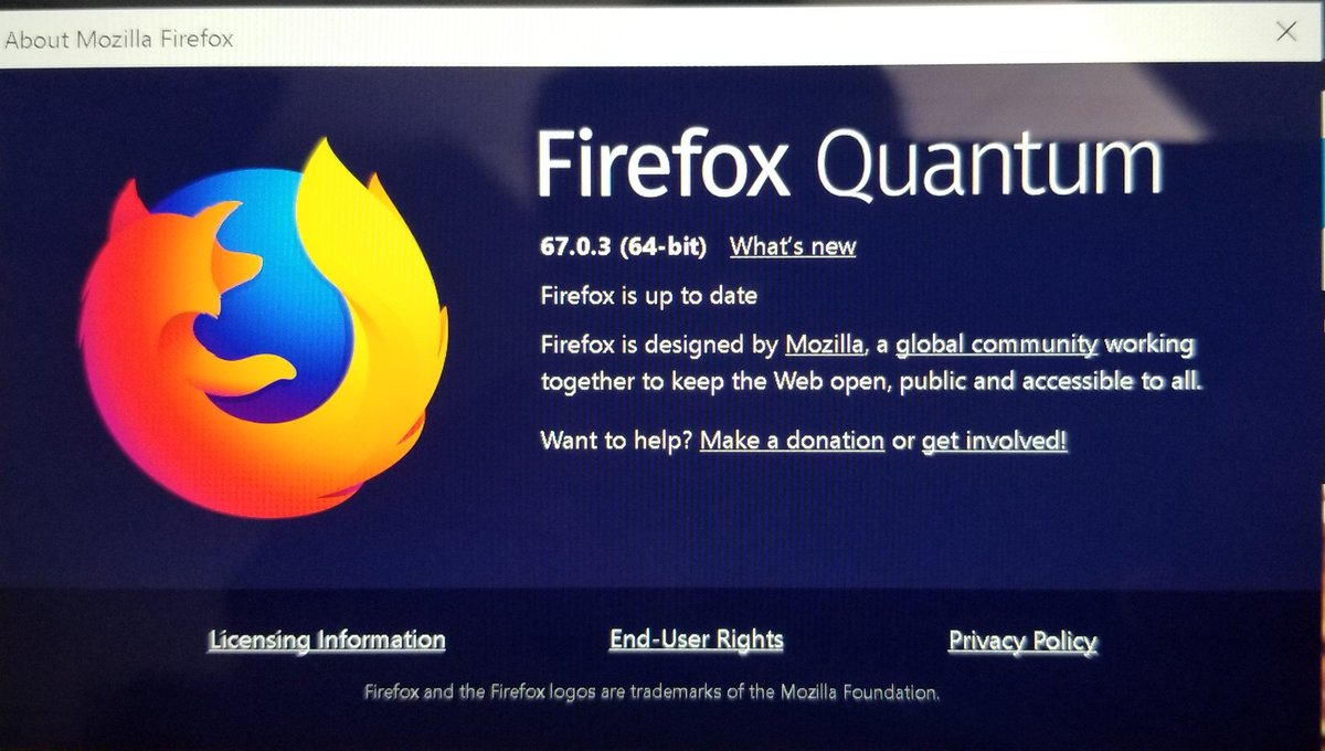 This is what version you should have 👇 #FirefoxQuantum  Version 67.0.3 For #PC& #Mac https://t.co/IDmLazDGut