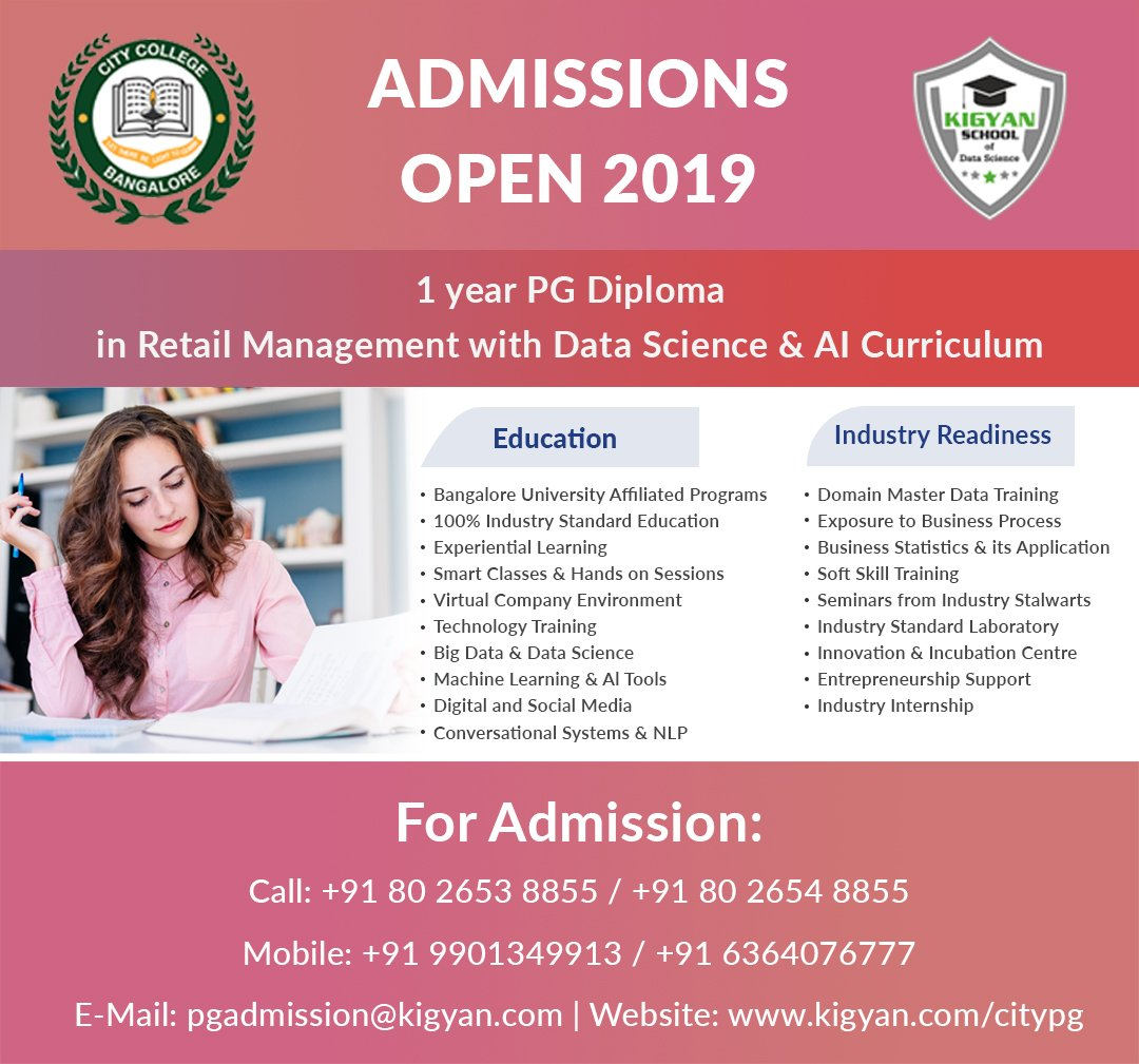 test Twitter Media - One Year PG Diploma Program in Retail Management with #Datascience and #artificialintelligence. #Admission Open For 2019!!! For Admission: Call : +91 80 2653 8855 Mobile: +91 9901349913 E-Mail: pgadmission@kigyan.com Website: https://t.co/J0ntPKdAMc    #PGDiploma #PGAdmission https://t.co/oRA37VUx78
