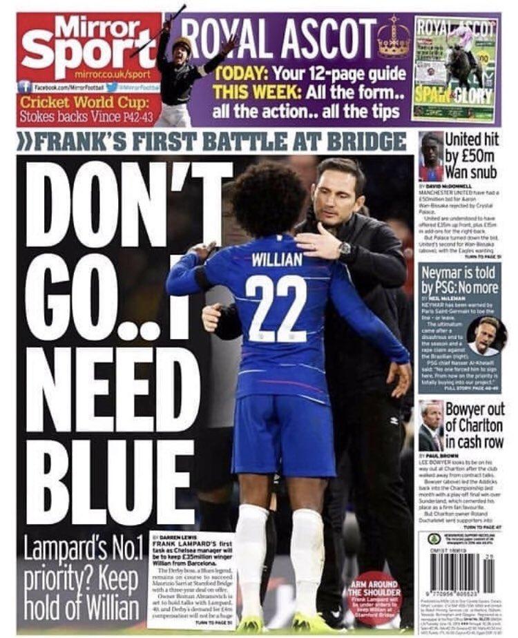 """RT @ChelseafanIndo: Frank Lampard: """"Jangan pergi (Willian), saya membutuhkan mu"""" [Mirror] https://t.co/KeRu04lVbI"""