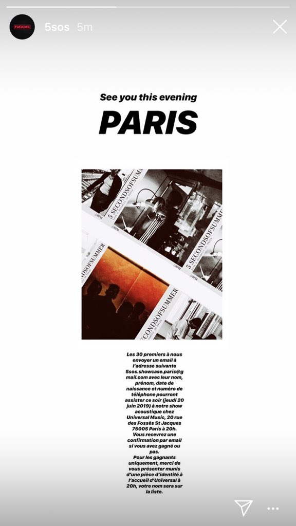5SOS on their IG story with details on their show in Paris @5SOS #5sos https://t.co/YYDmawPsFl