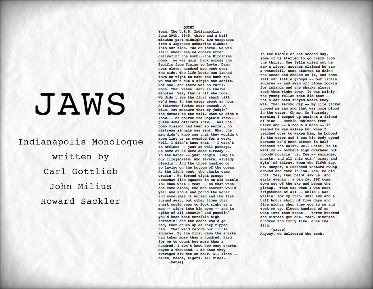 test Twitter Media - RT @vashikoo: An early version of the Indianapolis speech delivered by Robert Shaw... #JAWS #Spielberg https://t.co/XtJFgoAbDT