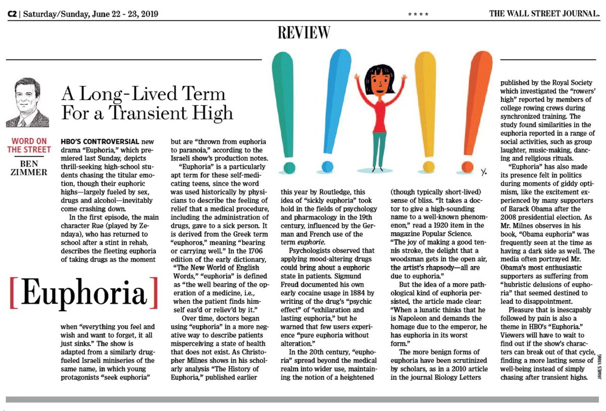 "test Twitter Media - In this weekend's @WSJ Review section: inspired by @euphoriaHBO, I take a deep dive into the history of the word ""euphoria."" https://t.co/LoUfpaa5Jv https://t.co/yjtlhHUL8q"