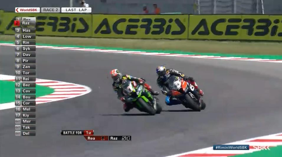 test Twitter Media - The decisive moment from Race 2: @jonathanrea finally gets past @toprak_tr54!  #RiminiWorldSBK🇮🇹  📹 FREE VIDEO | #WorldSBK  https://t.co/iNXAg9UqEx https://t.co/6xpepQ1MyC
