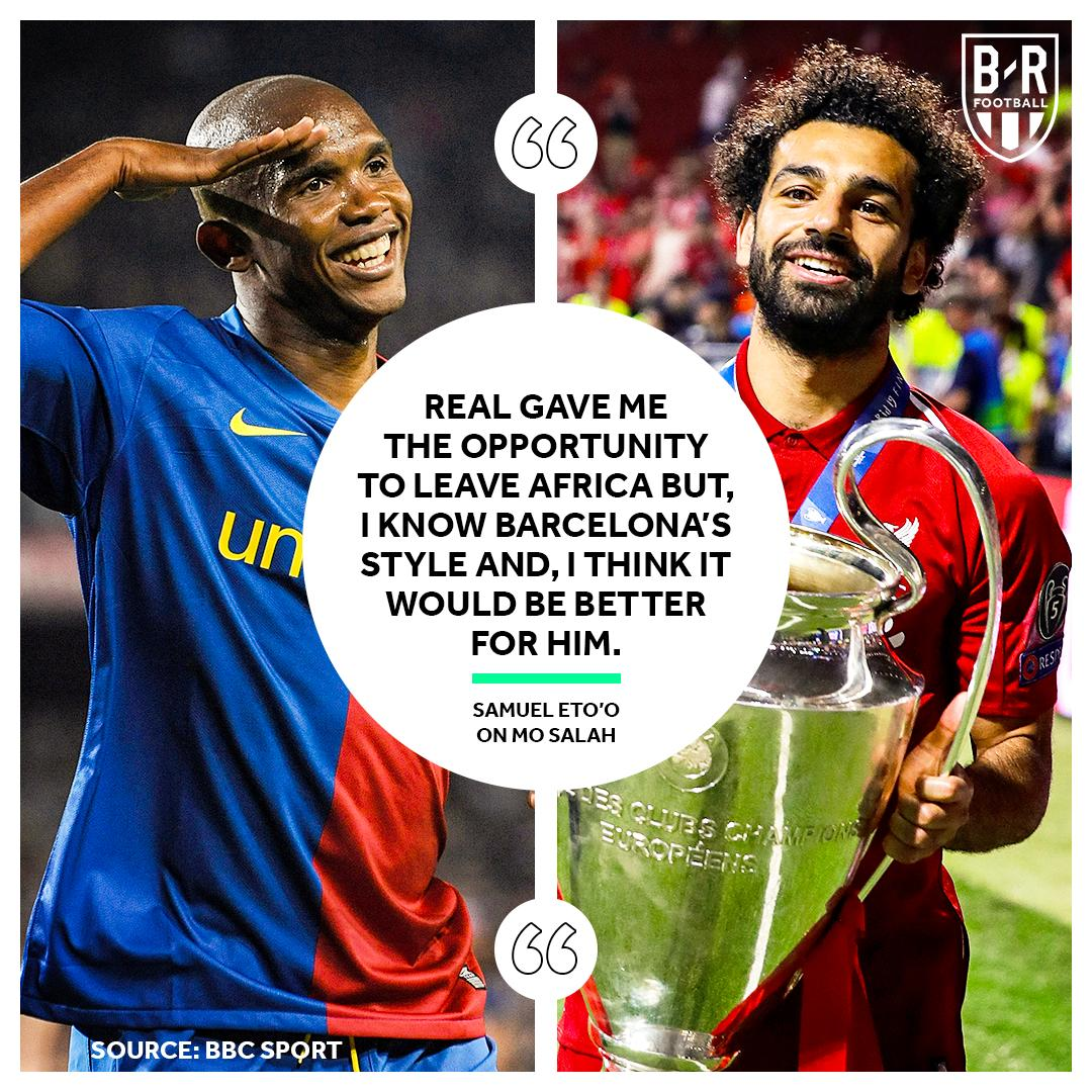 RT @brfootball: Eto'o sees Salah at Barca 🔴🔵 https://t.co/F7lujZYzZY