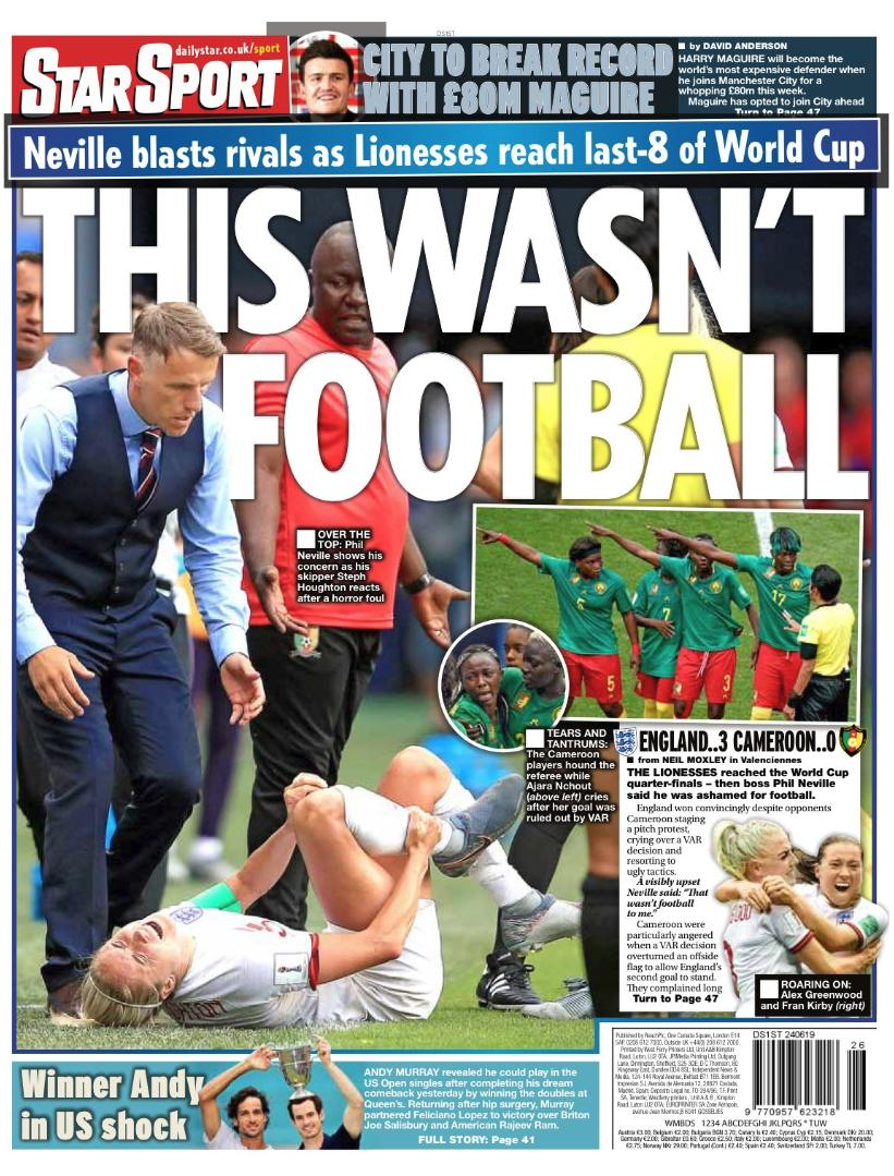 test Twitter Media - Today's back pages: @Lionesses head coach Phil Neville 'utterly ashamed' of Cameroon's disgraceful behaviour   A round up of the sport headlines from UK newspapers on 24 June.   See more @TheWeekUK: https://t.co/vLG0nklIKv  #BackPages #newspapers #Eng  #FIFAWWC #Lionesses https://t.co/rgFE2ulmfn