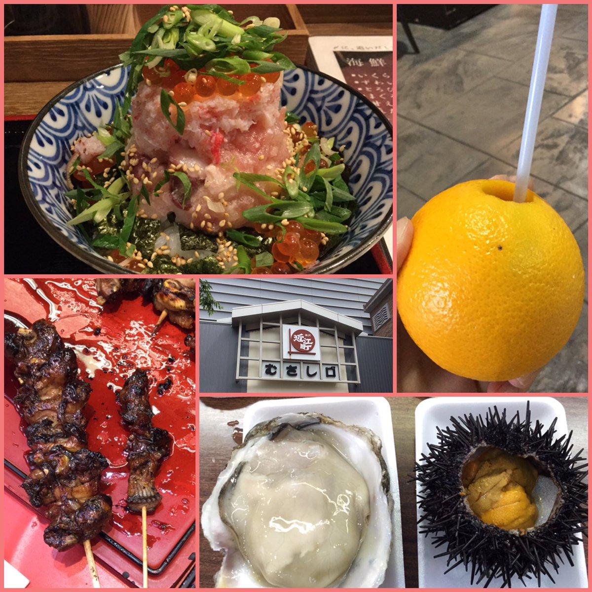 海鮮まるひ丼、石川産岩ガキ、ウニ、鰻の肝串、洲崎西の二人が飲んでたオレンジジュースと近江町市場美味しすぎっ!ごちそうさん