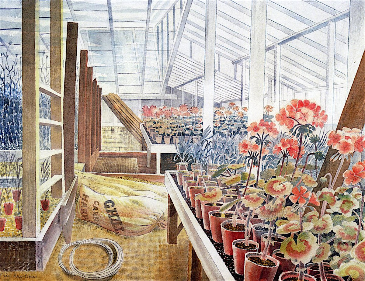 RT @DrLivGibbs: Geraniums and Carnations by Eric Ravilious 1938 (@FryArtGallery). Wittersham, Sussex. https://t.co/9torUwA2Un