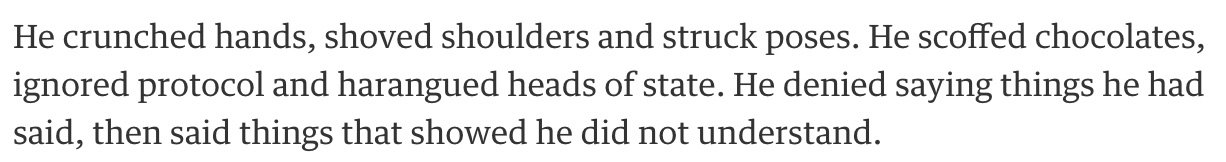 From an article in The Guardian, this sounds less like the behaviour of a world leader and more like the adventures of Homer Simpson: https://t.co/HPEQq5pdMP
