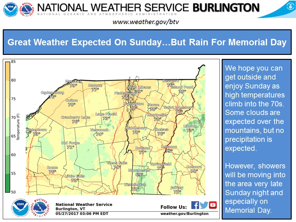 test Twitter Media - Outdoor plans on Sunday? The #weather will be perfect! Outdoor plans on #MemorialDay ? The weather will be not so perfect. #vtwx #nywx https://t.co/yTMSYY1z01