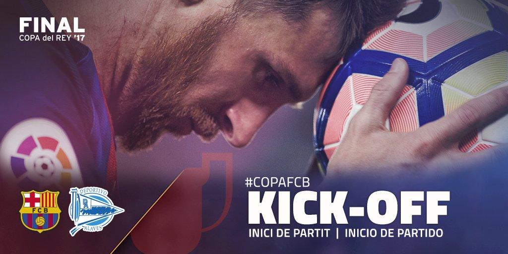 RT @FCBarcelona: ???????? The Copa del Rey final is under way! Som-hi, Barça!! ???????? #ForçaBarça ???? #FCBlive #CopaFCB https://t.co/jdjpGTXjqa
