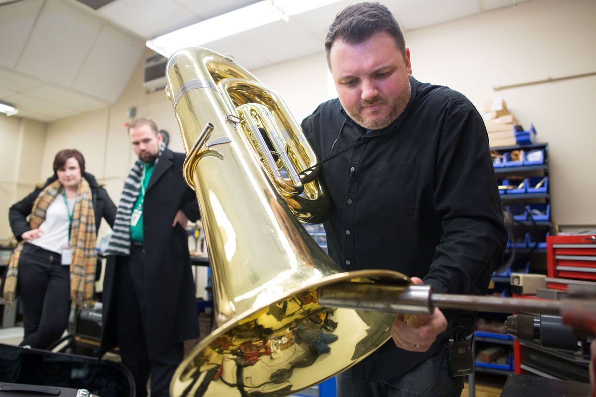 One repairman fixes all of OPS's brass and woodwind instruments — about 3,000 of them