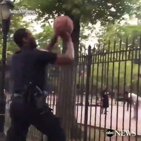NYPD officer makes seemingly-impossible shot from outside Bronx basketball court