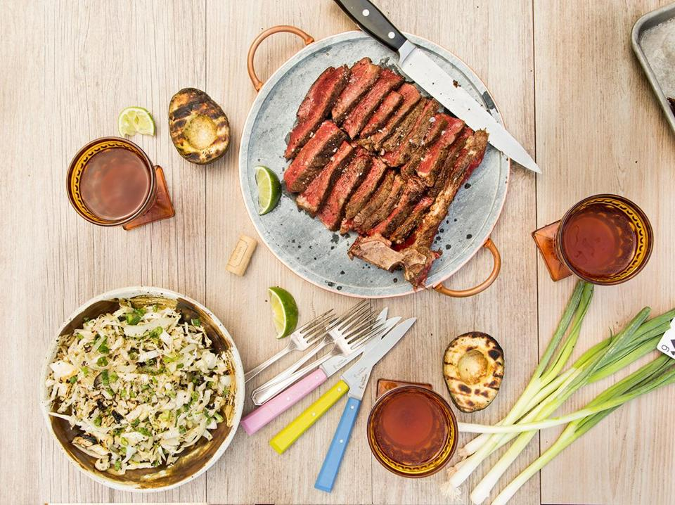 Recipes: Spice-rubbed steak, plus two tasty sides, all on the grill