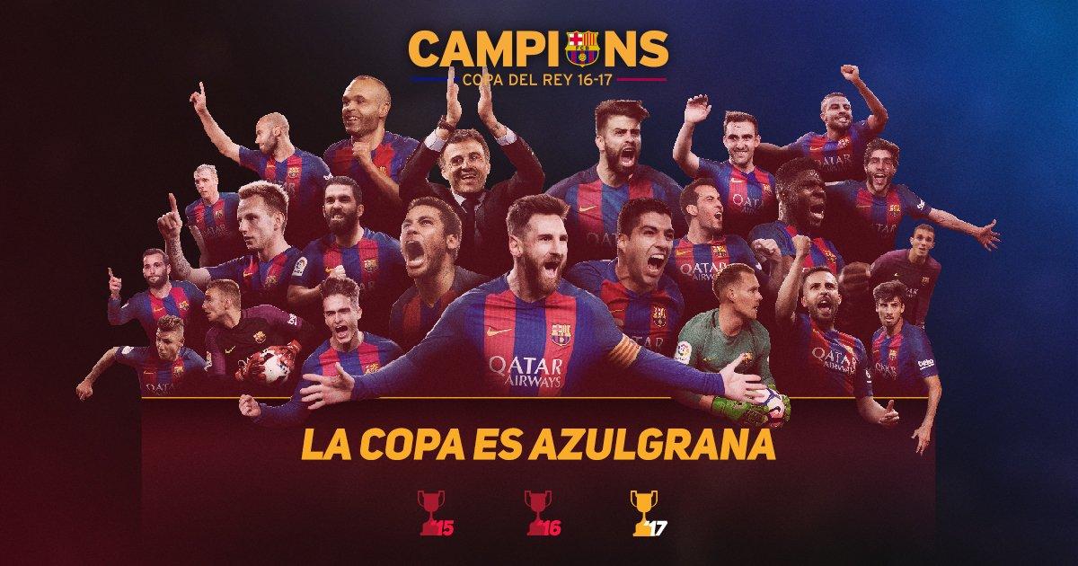 RT @fcbarcelona_jp: 🏆 国王杯3連覇!🏆👏  #FCBLive #CopaFCB 🔵🔴 Força Barça! https://t.co/SvTOLbSKEq #CampionsFCB