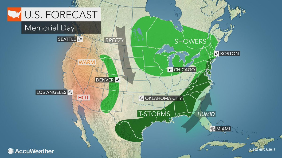 Memorial Day 2017: Stormy weather to disrupt holiday activities from Texas to Maine