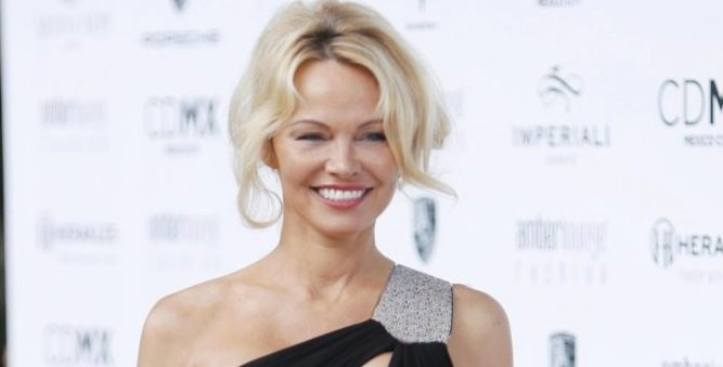 Pamela Anderson shows off her famous cleavage in racy ball gown in Monaco