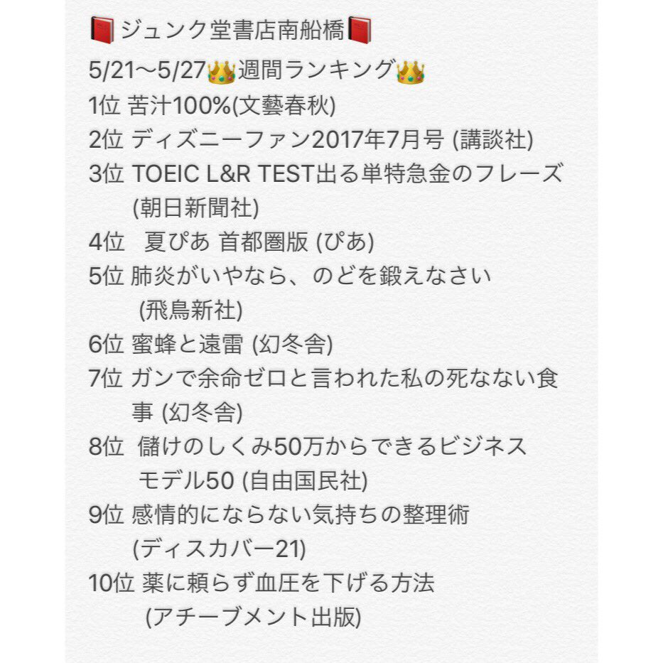 5/21〜5/27👑週間ランキング👑#jnk_mf #週間ランキング #本 #文庫 #コミック #苦汁100% #尾崎世