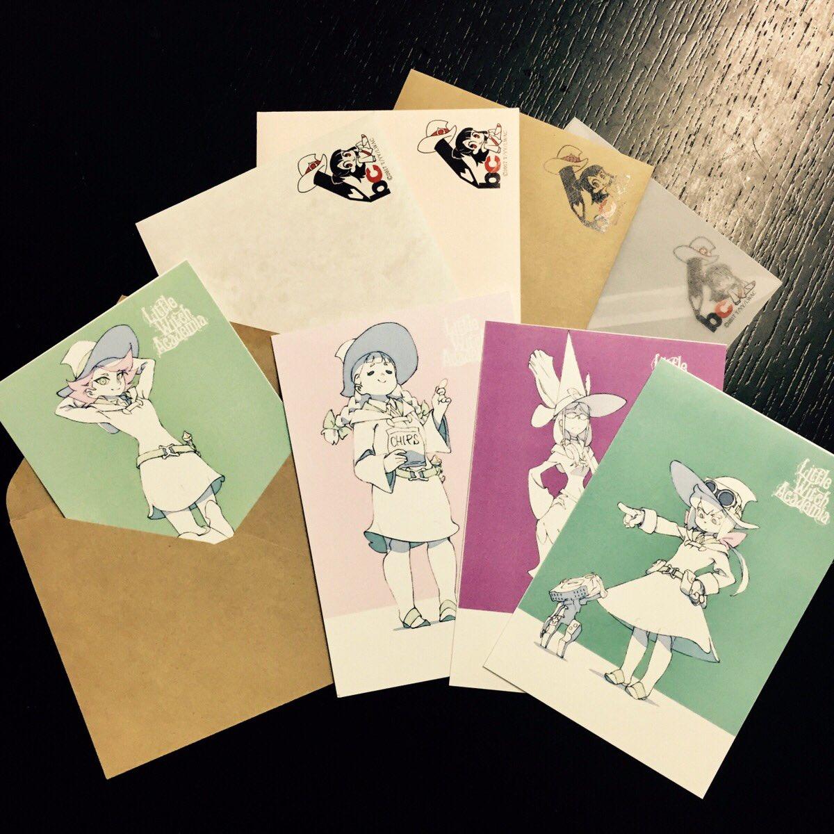 「リトルウィッチアカデミア×文房具カフェ」オリジナルポストカード&封筒ができました! 個々のキャラクターを生かし