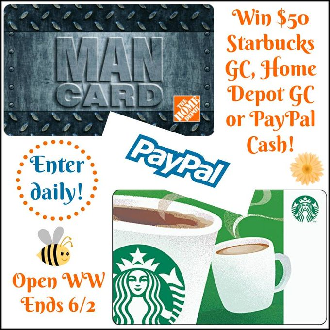 $50 GC GA to Home Depot, Starbucks or PayPal-1-WW-Ends 6/2