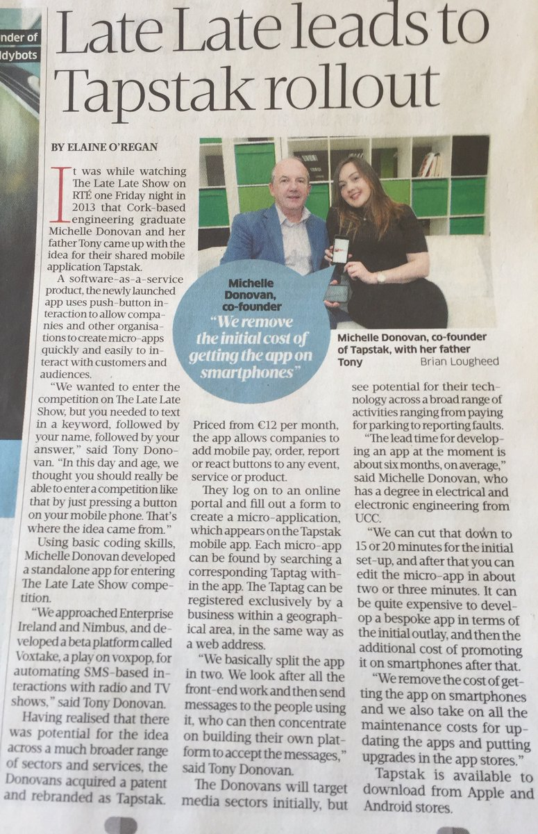 test Twitter Media - Great piece on TAPSTAK this morning in the @sundaybusiness. Thanks Elaine! https://t.co/h9oKc9dzPO