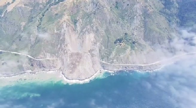 New drone video footage shows impact of landslide on iconic California highway