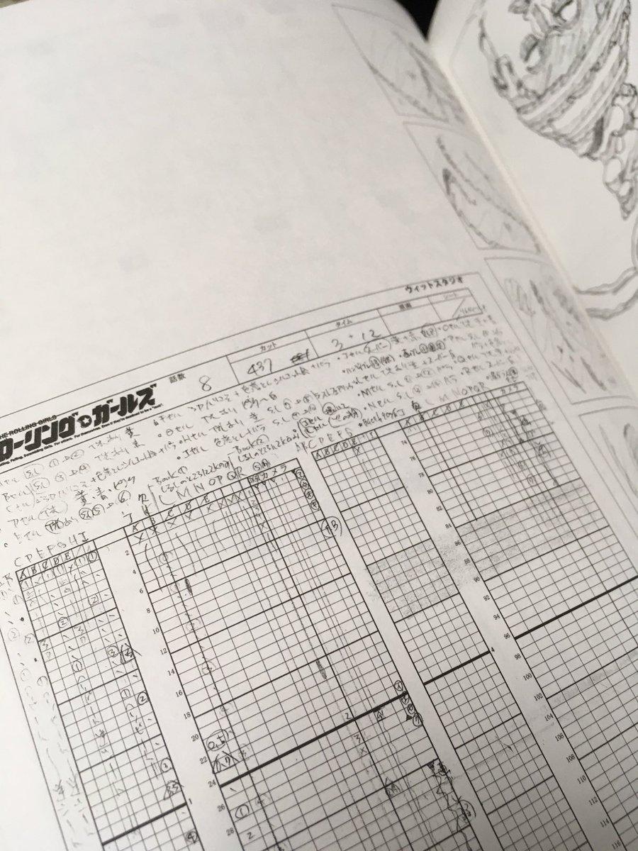《ローリングガールズ原画集解析3》びっしり撮影さん向けに書かれた指示。これを載せるあたりに原画マンのこだわりを感じる。そ