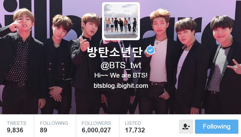 RT @BTS_ARMY: They #BTS #방탄소년단 @BTS_twt have reached 6 MILLION followers and counting in @twitter #BTS6Million https://t.co/MSuOZnRDyz