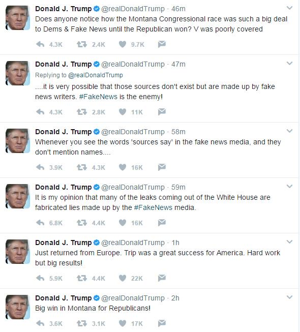 "test Twitter Media - Trump's Sunday morning rant : the #Russia story is ""fabricated lies"", all of this is the ""fake news"" media's fault. https://t.co/ZcXLj6jOXy"