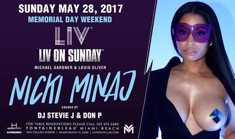 RT @MYXFusions: #MIAMI! Catch our @NickiMinaj at @LIVmiami tonight! ????????????✨ #MemorialDay Weekend Fun! https://t.co/5Hb2quEFXG