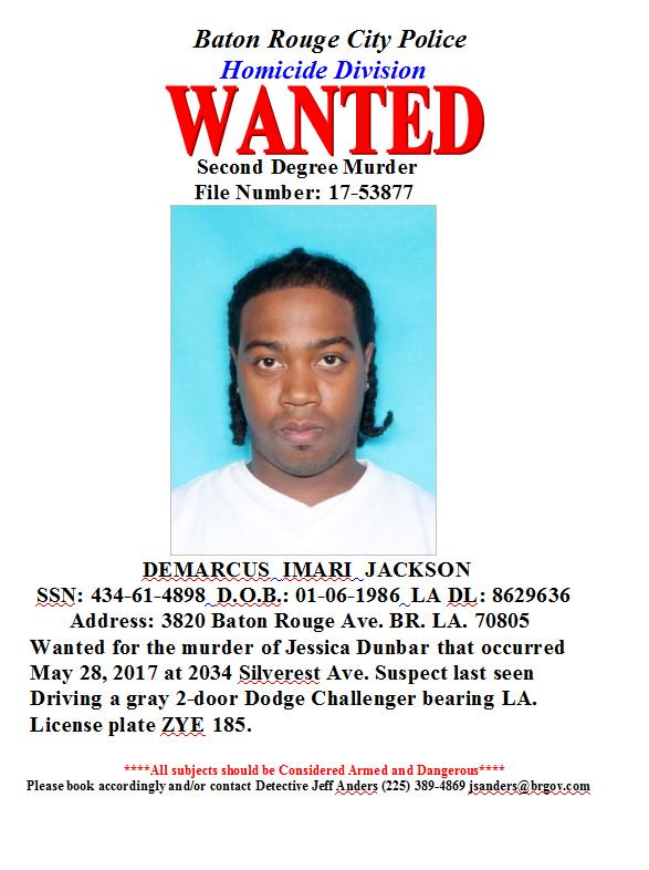 baton rouge police release wanted poster for demarcus jackson ...