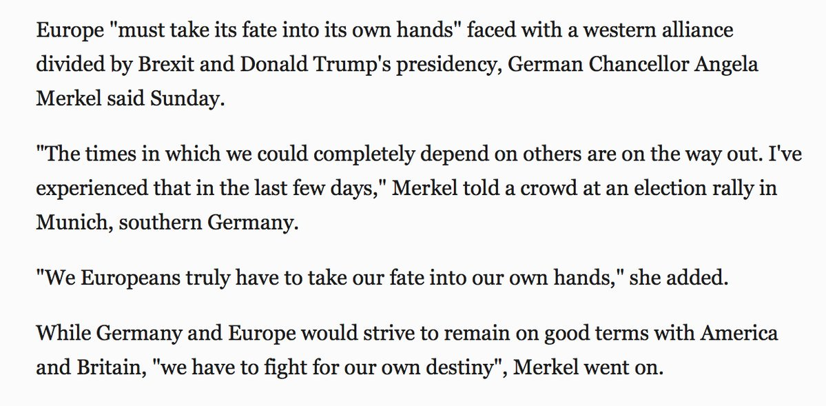 "An independent Europe? Merkel says Europe must ""take its fate into its own hands"""