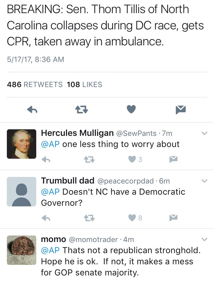 Some of the responses to this @AP alert about @ThomTillis collapsing are really unfortunate. https://t.co/6i2onUiDzS https://t.co/aTOXZ05W5z
