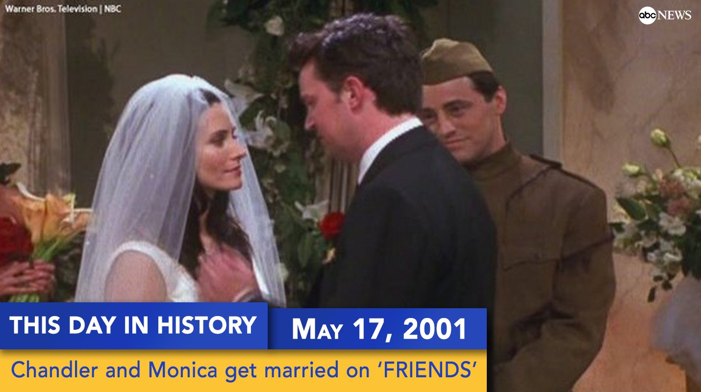 On this day 16 years ago, Monica and Chandler got married on 'FRIENDS.'  Happy anniversary to the Bings! https://t.co/01PYPPm7Dn