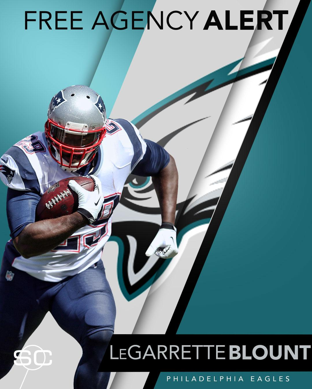 Breaking: The Eagles will sign LeGarrette Blount to a one-year deal. (via @AdamSchefter) https://t.co/T1gRxWqkuM