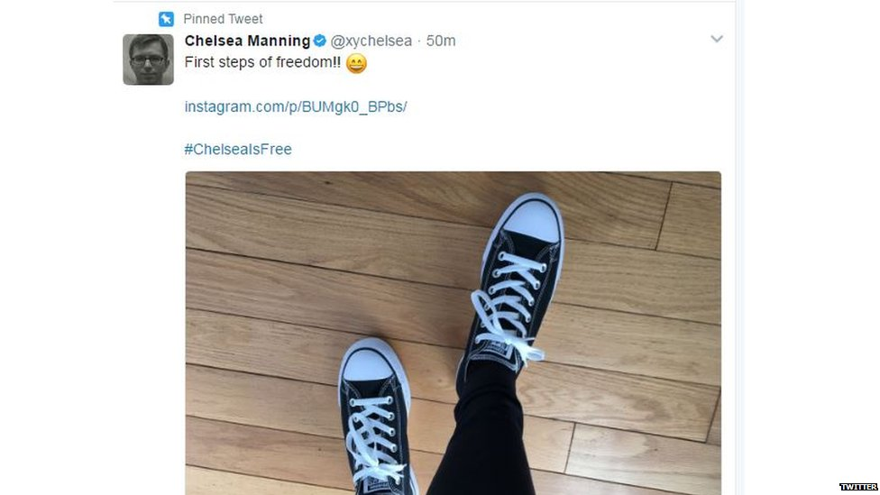 "Chelsea Manning posts picture of her ""first steps to freedom"" after release https://t.co/hIde3LqGQo https://t.co/iErt6T1qmy"