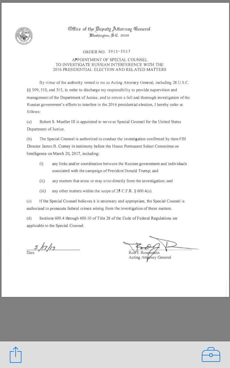 DOJ order signed by Rosenstein appointing Mueller as special counsel https://t.co/Ecaed6Ze17