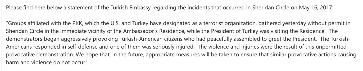 In other news, the Turkish Embassy's statement on last night's protestor beatings is ridiculous https://t.co/8nAA0dNSbl